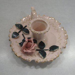 Vtg Lefton Pink Rose Candle Holder Handle Japan